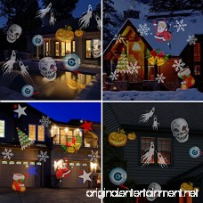 Christmas lights Halloween Christmas Star Outdoor Night Shower Snowflakes Projector Light Decorations 12 Slides Show LED Moving Landscape Spotlights for Holiday Christmas Decorations - B075LSS1KG