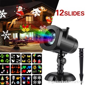 Christmas Lights Projector Halloween Star Christmas Outdoor Shower Projector Light 12 Slides LED Landscape Spotlights Slide Show for Holiday Christmas Thanksgiving Decorations - B076QBZK23