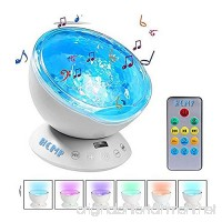 HCMP LED Night Light Projector with Timer  Remote  Music Speaker  7 Lighting Modes  Relaxing Light Show  Mood Lamp for Baby Kids  Adults  Living Room  Bedroom Ocean Wave Projector - B075XHDQ9P