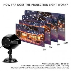 LED Projector Light Elfeland LED Snowflake Light Landscape Motion Projection Light White Snowfall Spotlight for Wedding Holiday Dating Party Home Decoration Yard Garden (Waterproof Remote Control) - B076TD68BD