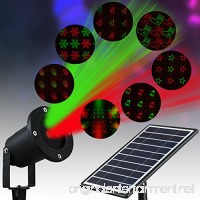 Solario Solar Powered Laser Light Projector w/ All-Metal Aluminum Design | Extra-Bright LED Stake Lights | 3 Lighting Modes & 7 Patterns | 100% Weather Resistant Outdoor Christmas Lights (Red & Green) - B0778YR3F9