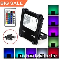 (Big Sale) 10W RGB LED Flood Lights  Waterproof Outdoor Color Changing LED Security Light with Remote Control  Dimmable Wall Washer Lights with US 3-Plug - B072N3148V