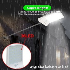 BuenaVo Solar Lights Outdoor With Motion Sensor 36 LEDs 450LM Gutter Light With Mounting Pole Waterproof Solar Security Light for Pathway Wall Patio Garden 2 Pack - B074PQ42CL