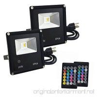 CNSUNWAY 10W RGB Warm White LED Flood Lights  IP66 Waterproof Outdoor Color Changing LED Security Light  14 Colors 4 Modes Wall Washer Stage Lighting Floodlight with Remote Control  US 3-Plug (2-Pack) - B074R9TZDM