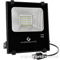 Glorious-LITE LED Flood Light 20W(100W Halogen Equiv) Outdoor Led Floodlight IP66 Waterproof Outdoor Work Lights 6500K Daylight White 1600lm 110V(with Plug) - B071YVGLDN