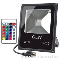 GLW LED RGB Flood Light Stage Lighting 30W Outdoor Color Changing Lights With Remote Control IP65 Waterproof Dimmable Wall Washer Light Flood Lamp 16 Colors 4 Modes with US 3-Plug - B015XW8128