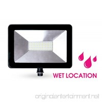 NEOX LED Ultra Outdoor Flood Light 50W  5573 Lumens  5000K (Crystal White Glow)  LED Security Light  120v  IP65 Waterproof - for Security - B07BK884H5
