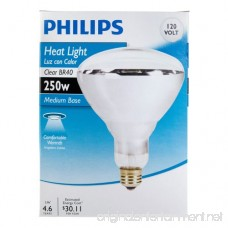 Phillips 416743 Heat Lamp 250-Watt BR40 Clear Flood Light Bulb - B0066L0ZRU