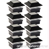 GreenLighting 8 Pack Solar Power Square Outdoor Post Cap Lights for 4x4 PVC Posts (Black) - B07F7KJ248