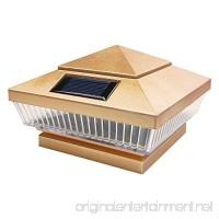 iGlow 1 Pack Copper Outdoor 4 x 4 Solar 5-LED Post Deck Cap Square Fence Light Landscape Lamp PVC Vinyl Wood Bronze - B01K1LI69O