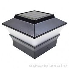 iGlow 4 Pack Black Outdoor Garden 4 x 4 Solar LED Post Deck Cap Square Fence Light Landscape Lamp Lawn PVC Vinyl Plastic - B07546TTDG