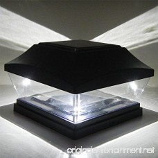 iGlow 8 Pack Black 6 x 6 Solar Post Light SMD LED Deck Cap Square Fence Outdoor Garden Landscape PVC Vinyl Wood - B07239QSKH