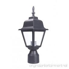 Lit-Path Outdoor Post Light Post Lantern with One E26 Base Max 60W Aluminum Housing Plus Glass Matte Black Finish - B07CX4MQQ8