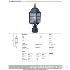 Maxim 1052BK North Church 1-Light Outdoor Pole/Post Lantern Black Finish Clear Glass MB Incandescent Incandescent Bulb 25W Max. Dry Safety Rating 2900K Color Temp Standard Dimmable Glass Shade Material 5520 Rated Lumens - B000JU1DD4