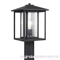 Sea Gull Lighting 82027-12 Hunnington One-Light Outdoor Post Lantern with Clear Seeded Glass Panels  Black Finish - B00BUROB4S