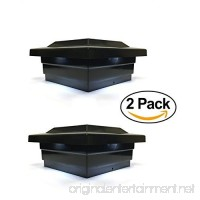 Solar Post Cap 5x5 Black Low Profile 4 SMD White LED Light ( 2 Pack )PL252B - B076V2S851