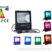 50W RGBLED Flood Lights ANDAX Black IP66 RGB Flood Light 16 Colors and 4 Modes. Waterproof Outdoor Security Lights.Remember Remember Off Lights Color (RGB-50W) - B07892YYFL