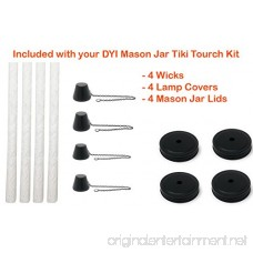 MyGo2Shop Mason Jar Tiki Torch Kit Includes 4 Long Life Wicks 4 Lids and 4 Caps- Just add Mason Jars & Fuel for Outdoor Lighting - B079VJ3SX5