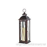 Smart Design STI84036LC Siena Metal Lantern with LED Candle  16-Inch Tall  Antique Brown Finish  Includes Realistic Candle Powered By One Amber LED  Suitable For Both Indoor And Outdoor Use - B00M27Q9N6