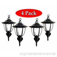 Solar Powered Wall Lamp- Set of 4- Motion Activated Security Lights- Wireless Outdoor Lantern- Beautiful Light Fixture- Garden Décor Accent Lighting- Best for Patio  Pool  Yard  Deck (Black) - B01IC5ONTI