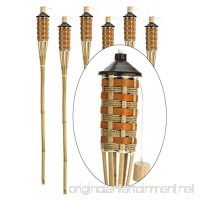 """Style Bamboo Torches - Decorative Torches with Fiberglass Wicks - Extra-Large (16oz) Metal Canisters for Longer Lasting Burn - Stands 59"""" Tall - EZ Pour Funnel Included (6 Pack) - B0761KXCNL"""