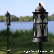 Sunnydaze Steel Outdoor Torch Jar with Tulip Design Includes Snuffer 22- to 64-Inch Adjustable Height Set of 2 Black/Silver - B07DW97TXD