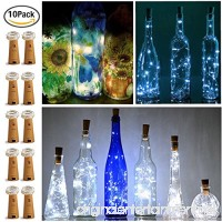 15 LED Bottle Cork String Lights Wine Bottle Fairy Mini String Lights Silver Copper Wire  Battery Operated Starry lights for DIY Christmas Halloween Wedding Party Indoor Outdoor,10 pack (Cool white) - B075R6337S