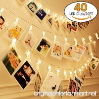 20Ft Battery Operated Indoor and Outdoor String Lights| with 40 LED Warm White Photo Clips| to Hang Cards  Photos  or Artwork. Includes Clear Adhesive Hooks for Convenient Easy Setup - B0765R5CVR