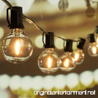 25Ft G40 Globe String Lights with Clear LED Bulbs  Energy Saving UL listed Backyard Patio Lights for Bistro Pergola Tents Market Cafe Gazebo Party Decor  Black Wire - B01MR012Z7