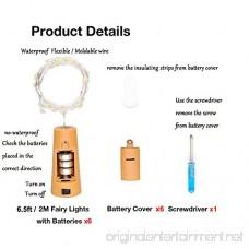 6 Pack 20-LEDS Spark Wine Bottle Light Cork Shape Battery Copper Wire String Lights for Bottle DIY Christmas Wedding and Party Décor (Colorful) - B075JGKJK7