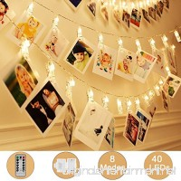 Adecorty 40 LEDs Photo Clips String Lights/Holder  [Remote & Timer] Fairy String Lights with 16.4ft 3xAA Batteries Powered Ideal Gift for Baby Teen Girls Bedroom Wedding Decor (Warm White 8 Modes) - B07C1MR1J3