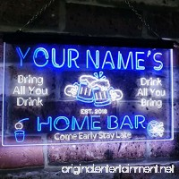 """AdvpPro 2C Personalized Your Name Custom Home Bar Beer Established Year Dual Color LED Neon Sign White & Blue 12"""" x 8.5"""" st6s32-p1-tm-wb - B07DJQVMD4"""