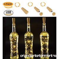 AnSaw Rechargeable Wine Bottle String lights  3 Pack USB Powered 20LED Bottle Cork Lights Starry Fairy Home Twinkle Cork Shape Decor Lights for Party  Christmas  Halloween Wedding (Warm White) - B0772T9CZM
