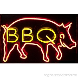 BBQ Real Glass Neon Light Sign Home Beer Bar Pub Recreation Room Game Room Windows Garage Wall store Sign (17×14 Large) - B01GJL19JY