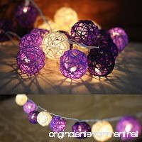 COTW Handmade Rattan Ball Decorative String Light Cute Romantic Beauty 3 Meters 20 Leds Light For Bedroom Holiday Festival Birthday Party--Purple And White - B076PD4Q73