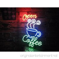 "Desung New 20""x16"" Coffee Cafe Open Neon Sign (Multiple Sizes Available) Man Cave Signs Sports Bar Pub Beer Neon Lights Lamp Glass Neon Light CX171 - B073XDQV6D"