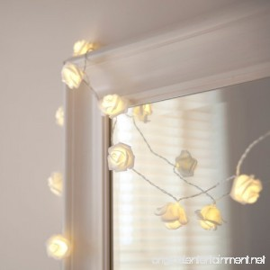 echosari [Built in Auto Timer] 20LED Warm White Rose Flower Fairy String Lights 7.5 Feet Clear Cable Battery Powered for Valentine's Wedding Bedroom Indoor Decoration - B00NYI7KIA