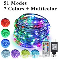 ErChen 51 Modes 7 Colors + Multicolor New LED string light  33 FT 100 Upgraded RGB LEDs Color Changing Plug In Silver Copper Wire Fairy Light with Remote Timer for Indoor/Outdoor Decor Christmas - B07CG89H9X