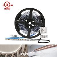 HitLights Cool White LED Light Strip  Premium High Density 3528-16.4 Feet  600 LEDs  5000K  164 Lumens per Foot. UL-Listed. 12V DC Tape Light - B005ST2I9O