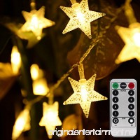 Homeleo 50 LED Warm White LED Twinkle Star Fairy Lights w/Remote Control Battery Powered Five-pointed Star String Lights - B0761RFKWG