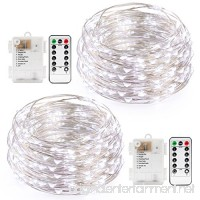 Kohree String Light Daylight White Remote Control Battery Operated Waterproof 8 Modes 50 LED 16.4ft/5M Silver-Coated Copper Wire Firefly Rope Lights 2 Packs - B073W77V3N