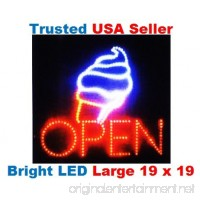Large Open Ice Cream Cone Yogurt Signs Led Neon Business Motion Light Sign. Animated On/off Power On/off with Chain 19*19*1 Blt308 - B005J5CI56