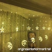 Led Star Curtain Lights Moon Star String Light 138 Leds 250CM Length with 8 modes plug in Fairy Lights Christmas Window Curtains Light for Home decoration (Warm white) - B071W167DH