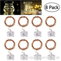 LED Starry String Lights  8PCS 6.5foot Warm White Copper Fairy Lights with 20 Micro LEDs  Waterproof  Battery Operated  for Wedding Parties Table Decoration - B0711MTQ1N