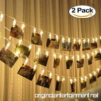 LED String Lights with Photo Clips Battery Operated Indoor Outdoor Decorative Fairy Lights for Bedroom  Patio  Dorm Room  Wedding  Party  Photo Holder with 10 Clips (2 Pack) - B01LPIUTA6