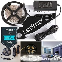 LEDMO LED Strip Lights  SMD2835 White  LED Ribbon  Dimmable  Non-Waterproof  DC12V 600LEDs 16.4 Ft Decoration LED Tape Ribbon  Include Power Supply - B01MSWCKJ4