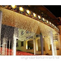 LIIDA Curtain Lights LED Twinkle Lights 9.8 x 9.8ft Warm White Curtain Icicle Lights With 8 Modes Controller for Holiday Party Outdoor Wall Wedding Decorations - B01E73MD50