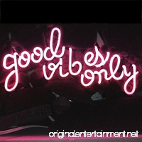 "LiQi ' GOOD VIBES ONLY' Real Glass Handmade Neon Wall Signs for Home Decor Wall Light Room Decor Home Bedroom Girls Pub Hotel Beach Cocktail Recreational Game Room (14"" x 8"" PINK) - B0748DSSRT"