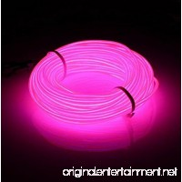 Lysignal 16ft Neon Glowing Strobing Electroluminescent Light Super Bright Battery Operated EL Wire Cable for Cosplay Dress Festival Halloween Christmas Party Carnival Decoration (Pink) - B073119ZRW