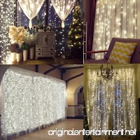 Naisidier Window Curtain String Lights Starry Fairy Icicle Lights  9.8ft x 9.8ft  300 LED  8 Modes  Indoor Lights for Home Wedding Party Garden Wall Window Decorations  Warm White - B07CWRC827